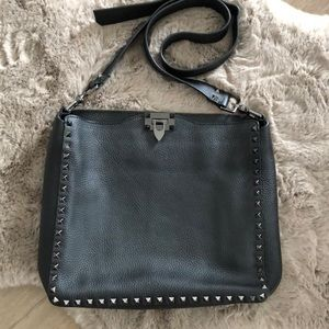 Black Rock stud crossbody Messenger Bag